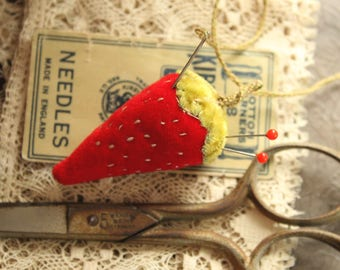 RESERVED for MARY Red Velvet Strawberry Pincushion - Vintage Velvet Sewing Pin Cushion - Handmade Miniature Embroidered Strawberry Pin Keep
