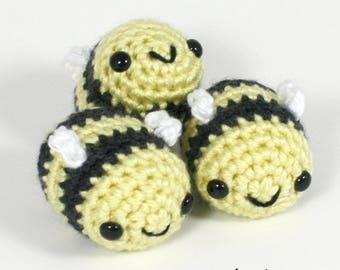 Crocheted Bee Amigurumi Plushie - Pastel Baby Bumblebee Plush - Ready to Ship