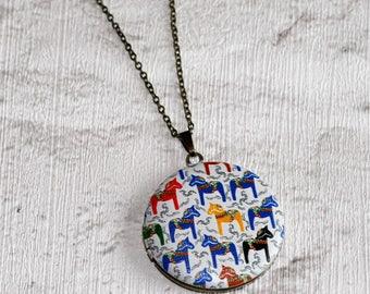Dala Horse Locket Necklace, Swedish Horse Necklace, Equine Jewelry