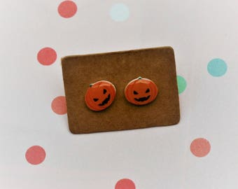 Pumpkin Earrings, Teeny Tiny Earrings, Halloween Jewelry, Cute Earrings