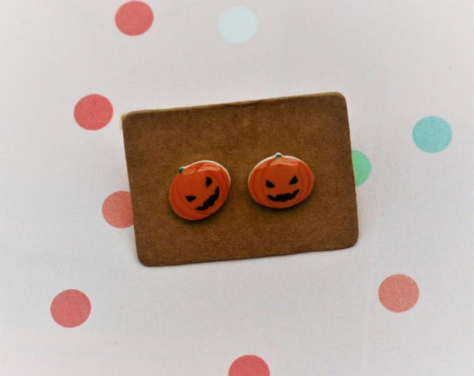 Pumpkin Earrings, Teeny Tiny Earrings, Halloween Jewelry, Cute Earrings
