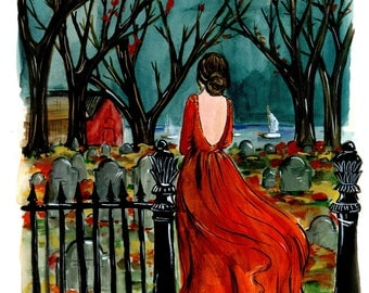Travel Fashion Illustration in Salem, Massachusetts Cemetery Print