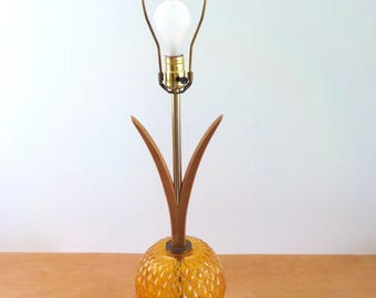 Vintage Mid Century Lamp • Wood Glass Amber Faux Bois Base • 1960s Vintage Lamp Flower