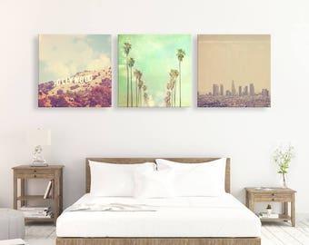 LA wall art, Los Angeles print set, set of 3 photos, Hollywood, palm trees, LA skyline, loft decor, photography, California art, LA gift set
