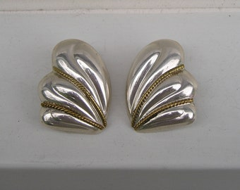 Vintage Mexico Sterling 925 Brass Rope Design Hollow Clip On Earrings