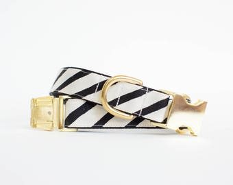Painted Stripe Dog Collar in Black and Natural - Metallic Gold Dog Collar - High End Dog Collar - Rifle Paper Co Dog Collar