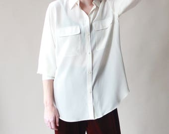 oversized silk utility blouse | ivory silk top, small - large