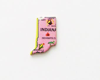 1961 Indiana Brooch - Pin / Unique Wearable History Gift Idea / Upcycled Vintage Wood Jewelry / Timeless Gift Under 25