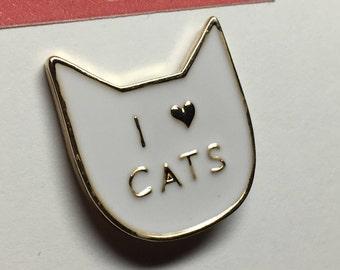 Lapel Pins // Flair//  Hard Enamel Pin -Waving Hello Cat - I love you Cats - white / black  - Lapel Pin