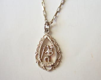 Sterling Silver St. Christopher Pendant - Delicate Vintage Pendant Necklace in 925 Silver