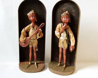 Kitsch Exotic Figures Playing Musical Instruments - Fantastic Plastic Pixie Men in Flocked Niches to Hang on Wall