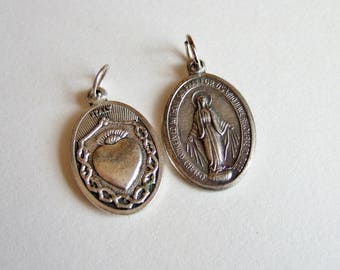 Two Italian Religious Medals - Vintage Charms of the Virgin Mary and Holy Infant of Prague