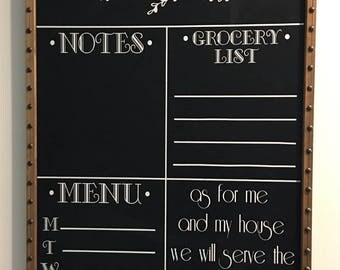 Personalized Name Menu, Notes, Grocery List, As For Me and My House Scripture Custom Chalkboard Decal Wall Decor Words Vinyl Lettering Decal