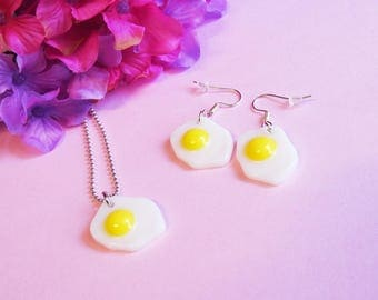 I Love Eggs Necklace - Cute Miniature Sunny Side Up Egg Necklace