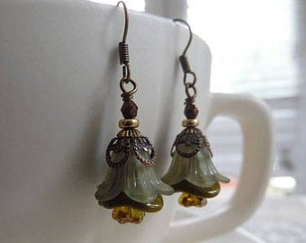 Fall Flower Earrings with Olive Green Lucite Flowers and Czech Glass