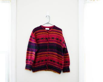vintage 80s United Colors of Benetton Colorful Patterned Mohair Oversized Slouchy Cardigan Sweater M L