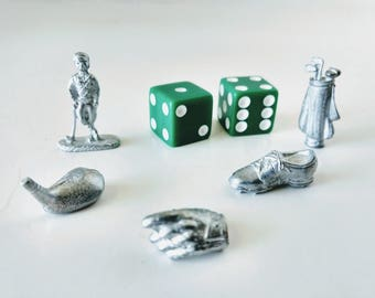 Golf Monopoly Board, Pewter Game Pieces Metal Sports Tokens five pieces, cup cake toppers, jewelry making, golf player, shoe, glove, iron