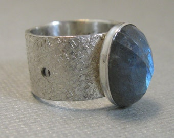 Natural Faceted Labradorite and Sterling Silver Artisan Handcrafted Ring, Chunky Labradorite and Sterling Ring size 6