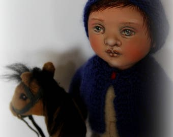 Timo and his Hobby-Horse ooak cloth doll