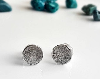 Sterling Silver Moons, Unisex, Men's Studs, Women's Post Earrings, Organic Texture, Round Studs, Hammered Studs, Industrial Silver Studs