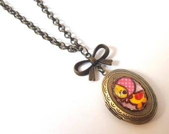 Little Miss Ducky Locket Necklace-Antique Brass-Formal-EGL Kawaii-Rubber Duck-Sweet Lolita Fashion-Fashion Accessory-Gifts for Girls-Cute