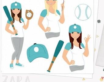 Baseball woman character clipart, sports girl, player, summer team, cap, bat, ball, blonde, brunette and auburn hair (Zara L279)