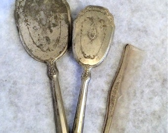 1940s Vintage Silver Plated Dresser Set Brush Comb and Mirror