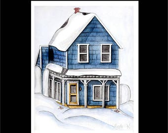 Note Card Set-Blue House In Snow-Stationery Set