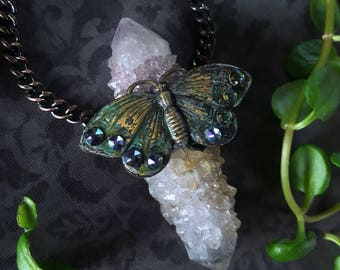 Spirit Quartz Necklace - Spirit Quartz Butterfly Pendant - Pastel Fae Spirit Quartz - Lavender Pink Fairy Spirit Quartz Necklace - Vlindara