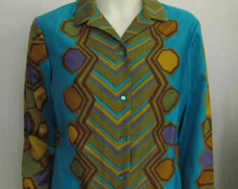Vintage 1960's Alex Coleman Cotton Blouse in Bold Mod Print, Casual Top or Shirt, Large size