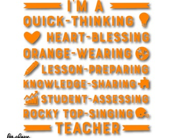 Teacher Rocky Top Singing Orange Wearing Tristar TN Tennessee SVG, EPS, dxf, png, jpg digital cut file for Silhouette or Cricut