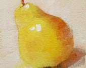 Small Original Oil Painting, Pear, 4 x 4, Wall Art, Easel Included, Shelf Art