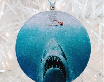 Jaws glass and glitter ornament
