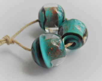 Lampwork Beads, Handmade Glass Beads, Teal and Copper