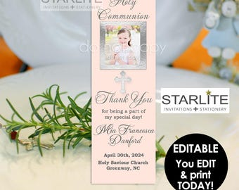 Unique First Communion Favors Girl, First Communion Bookmark Favors with Photo, Photo Book Mark Communion Favors, EDITABLE INSTANT DOWNLOAD
