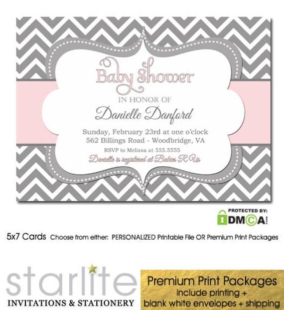 Pink grey chevron baby shower invitation baby shower invitation il570xn filmwisefo