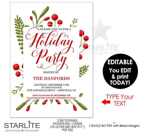 Geeky image for printable holiday invitation