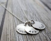 Mother's Day Name Jewelry - THREE Name Personalized Necklace in Sterling Silver - Hand Stamped, Engraved Mom Necklace - Baby Name Necklace