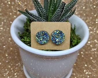 Sparkle Post Earrings Blue Green Black Yellow Orange Jewelry Sparkly Acrylic Druzy Geode Crystal Look Simple Small 7/16 Inch 11 mm 1 cm