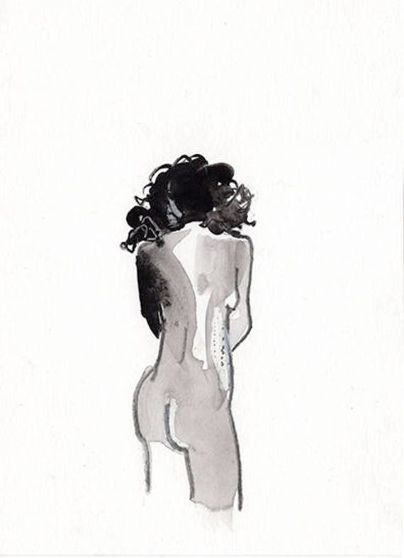 Mini Nude #37 -original watercolor painting by Gretchen Kelly