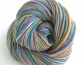 Hand Dyed Yarn Worsted Wool Mohair Yarn Pastel Colors - Pixie Dust