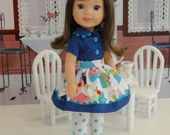Cupcake Party - Blouse, skirt, tights & shoes for Wellie Wisher doll