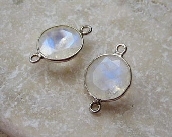 Moonstone and Sterling Silver Bezel Connectors 19 x 12.75 mm - Pair