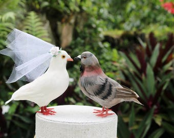 Dove & Pigeon Cake Topper: Love Bird Wedding Cake Topper