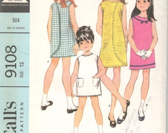 McCalls 9108 1960s Girls  3 Armhole Wrap Arounder Dress Pattern Childs Pre Teen Mod Vintage Sewing Pattern Size 12 Breast 30