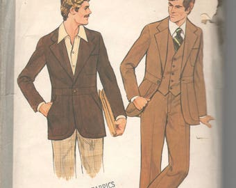 Simplicity 8443 1970s Mens Three Piece Suit Pattern Lined Jacket Pants Vest Adult UNCUT Vintage Sewing Pattern Chest 38 NO ENVELOPE