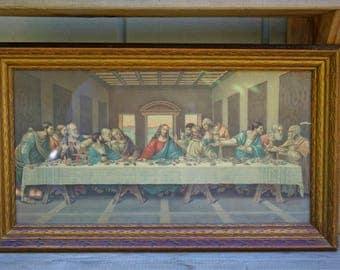 Vintage Framed Print Lithograph Last Supper