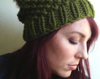 Chunky Faux Fur Pom Pom Hat