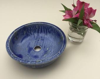 """Round Pottery Planter Dish Blue """"Starry Starry Night"""" Glaze"""