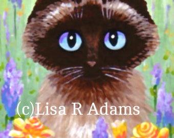 Siamese Ragdoll Cat ACEO mini art print Giclee Creationarts